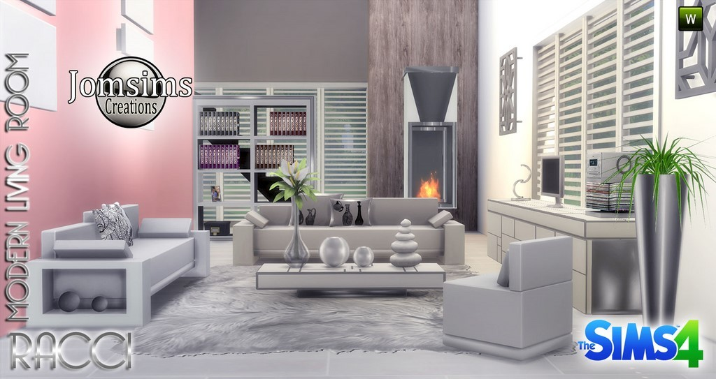 Salon sims 4 for Modern living room sims 4