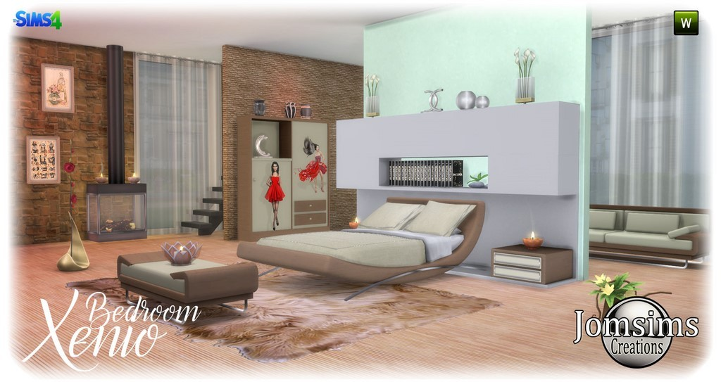xenio bedroom sims 4 modern in 4 shades for this set which will give a different style according to its color double bed dresser cushions sofa - Chambre Simple Chambre Double Difference
