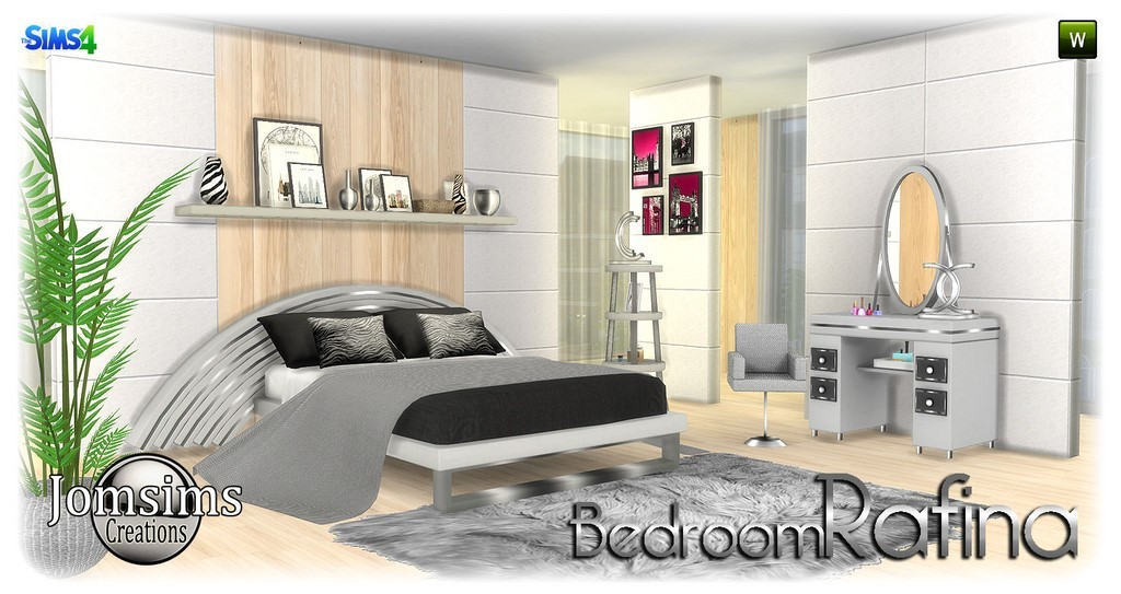 Rafina bedroom sims 4 bed cushions blanket vanity table mirror paintings shelf with deco misc deco table seat modern corner happy simming