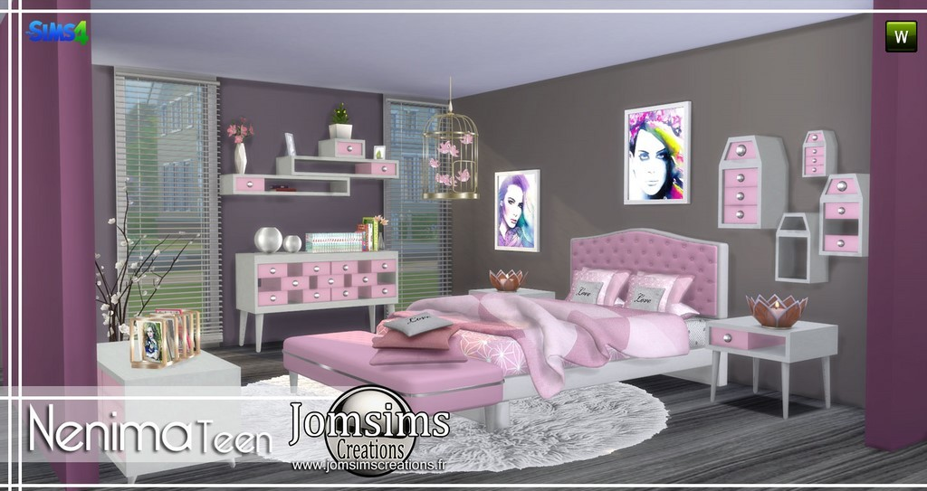 chambre adolescent sims 4. Black Bedroom Furniture Sets. Home Design Ideas