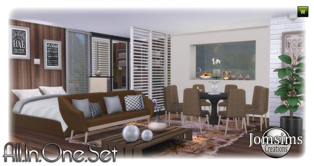 All In One Set Sims 4 1 Lit Moderne Couverture De Coussins Pour Le Sofa Table Salle A Manger Chaises