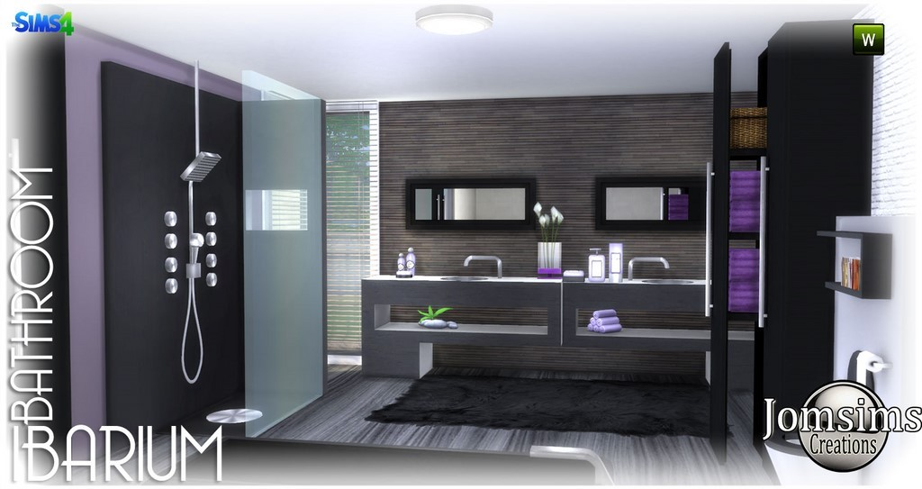 Bathroom, Ibarium. Modern, In 4 Colors. Shower. 2 Washbasins.1 Toilet, With  Deco.1 Shower. 2 X Set, Objects Various Decorations. 2 Furniture,  Decorative.