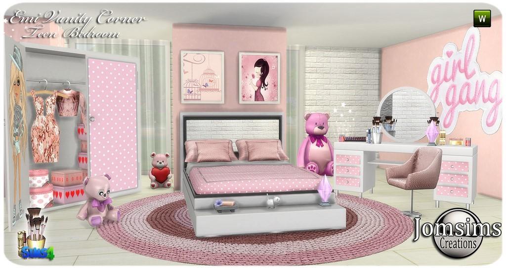Emi vanity corner. teen bedroom. colors. White pink, pink beige. White  blue. Beige blue. bed. cushions. seat. Vanity table and mirror.